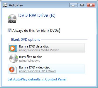 AutoPlay window for blank DVDs