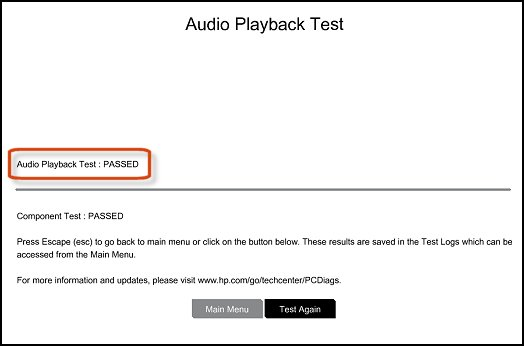 Audio playback test results