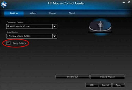 Image of the Mouse Control Center's Button tab - Swap Buttons box.