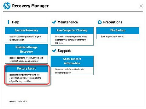 Image of Recovery Manager with user created recovery discs