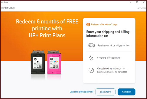 Redeeming six months HP+ print plans