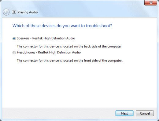 Selecting a device to troubleshoot