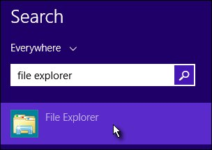 The search for File Explorer from the Start screen