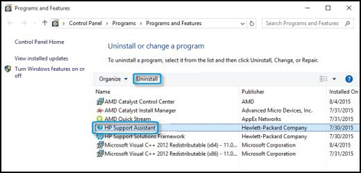 Uninstall screen from the Control Panel with HP Support Assistant highlighted