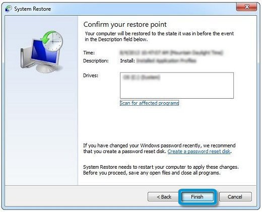 System Restore: Confirm your restore point