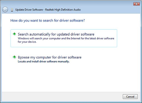 How do you want to search for driver software screen