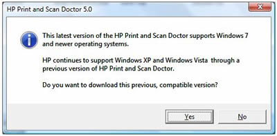 When Downloading HP Print And Scan Doctor On A Computer With Windows Vista Or Earlier Message Displays Directing You To Download Version 49