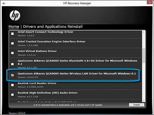 HP Recovery Manager Drivers and Applications Reinstall
