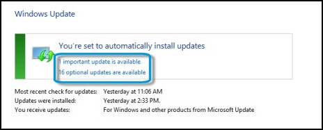 Links to available updates in the Windows Update window