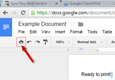 Image shows the printer icon from a Google doc tool bar