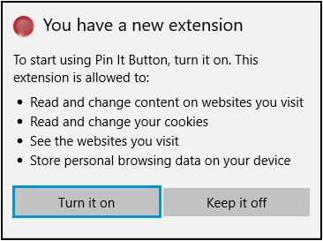 Extensions menu with an extension permissions notification displayed and the Turn it on button highlighted