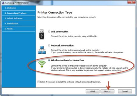 Image shows example of selecting wireless network connection