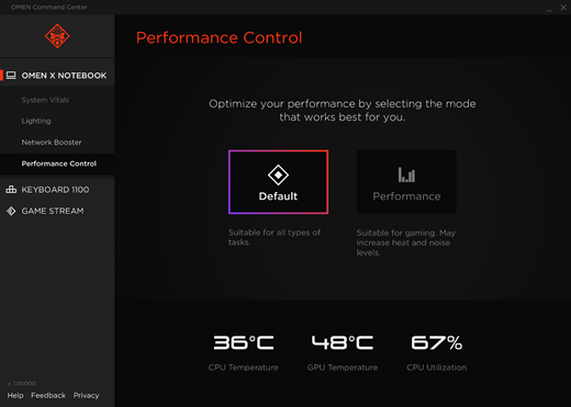 Performance Control screen set on Default