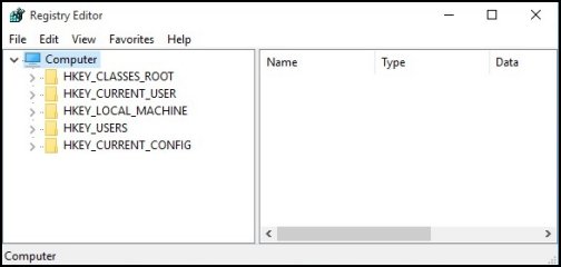 Registry Editor window