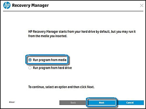 Recovery manager with Run program from media and Next selected