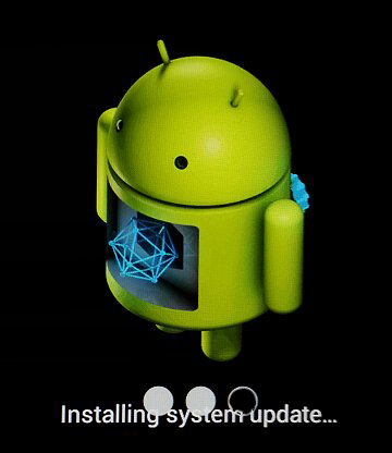 "Android graphic with the message ""Installing system update"" and two white dots"