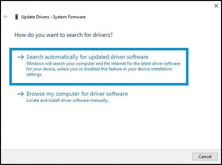 Selecting Search automatically for updated driver software in Update Drivers