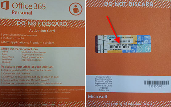 Office 365 activation card with product key pointed out