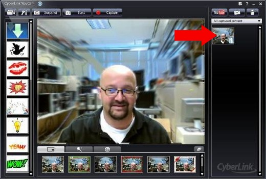 Image of the CyberLink YouCam window with a video thumbnail