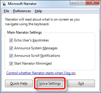 Microsoft Narrator preferences window with Voice Settings button selected
