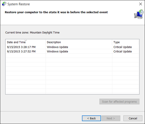 Restore point selection in System Restore