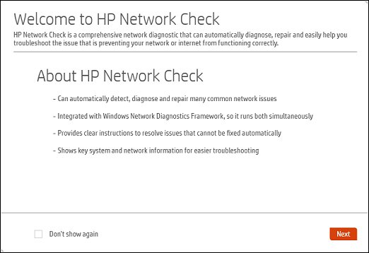 Diagnostics tab with HP Network Check highlighted