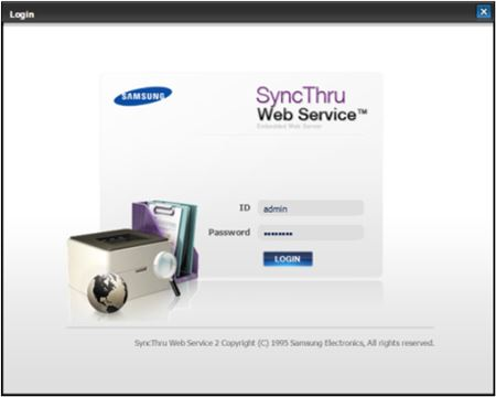Image shows SyncThru login and password prompt