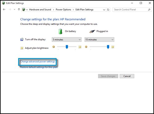 Clicking Change advanced power settings