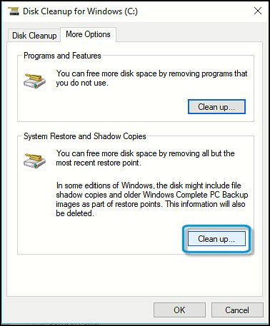 Cleaning up System Restore files