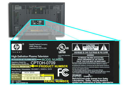PL4272N product information label on the back center of TV.
