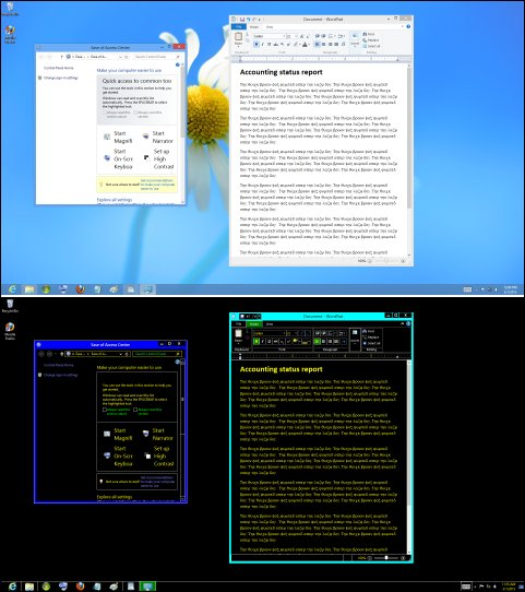 An image  of a regular desktop above an image of the same desktop with High Contrast turned on