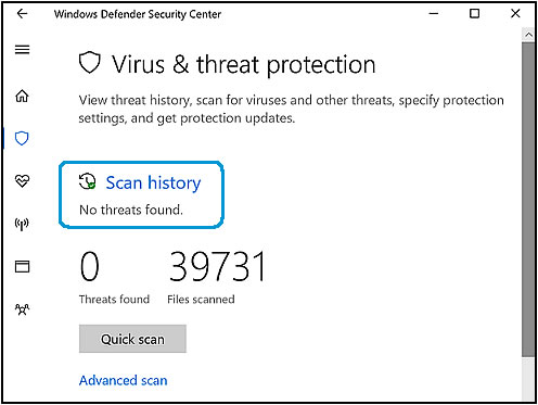 Virus & threat protection screen with Scan history option