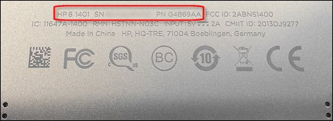 HP 8 tablet model number and product number location