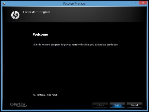 Image of the File Restore Program welcome screen