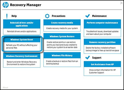 Recovery Manager Main screen with Windows System Reset selected