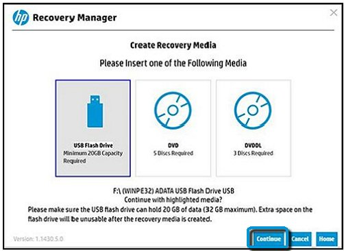 Recovery Manager with USB flash drive selected