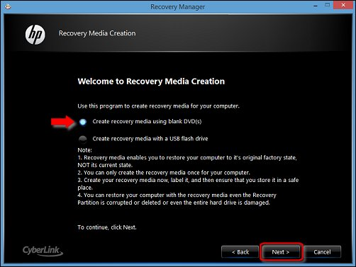Image of Create recovery media using blank DVD(s) and Next selected