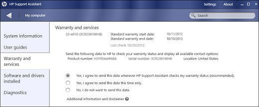 Image of Warranty and services window displaying warranty information