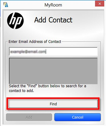 Image of the Add Contact window with an email address entered and the Find button selected