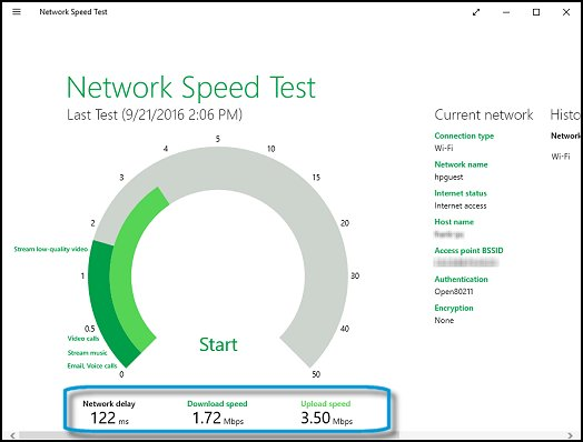 Example of the Network Speed Test results