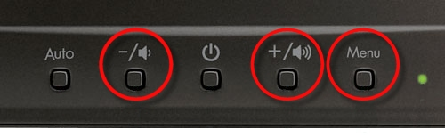 Volume and menu buttons on a monitor