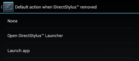 Options for default action when the DirectStylus is removed