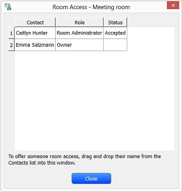 Image of the Room Access window with the new contact status Accepted