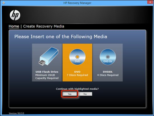 Image of insert DVD and Yes selected