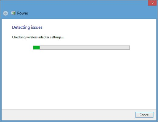 Detecting issues progress bar in the power troubleshooting tool