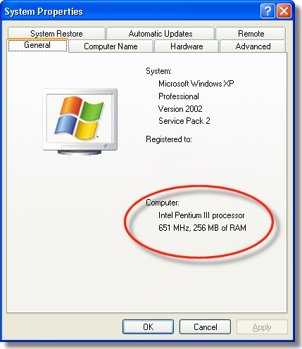 Viewing processor information in the System Properties window