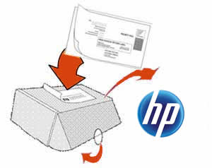 Illustration of mailing the box back to HP