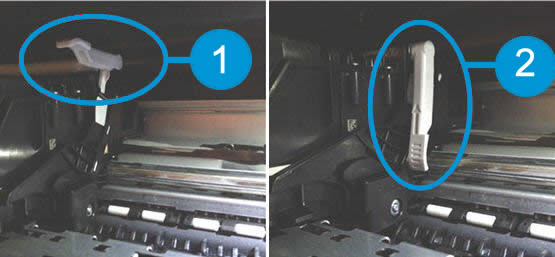 Image: Carriage latch positions.