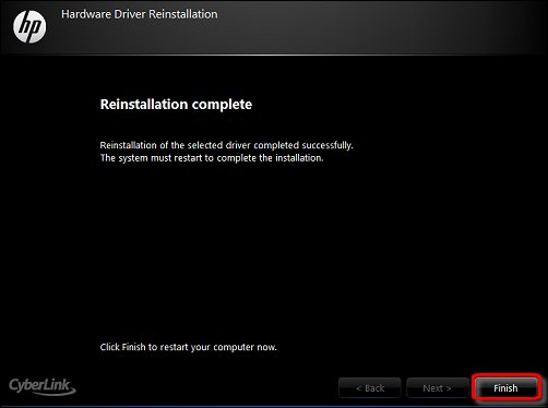 The reinstallation completion screen, with Finish encircled in red