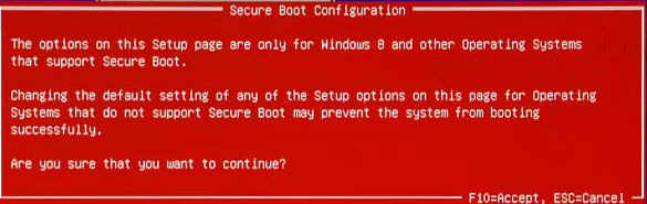 "Warnmeldung ""Secure Boot"""
